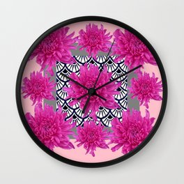 GREY ART DECO FUCHSIA CHRYSANTHEMUM FLORAL Wall Clock