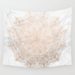 Mandala - rose gold and white marble 4 Wall Tapestry