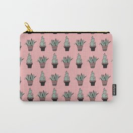 Cactus and Aloe Vera on pink Carry-All Pouch