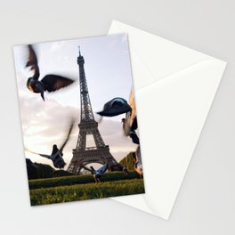 Paris Eiffel tower and flight of birds Stationery Cards