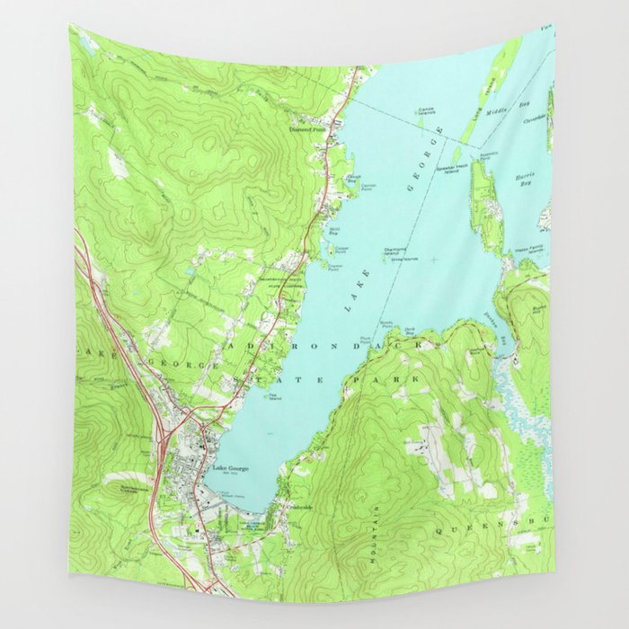 Vintage Map of Lake George New York (1966) 2 Wall Tapestry by ...