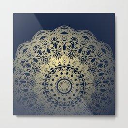 Mandala Flower Boho Navy Cream Metal Print