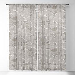 Love to Bake  - sepia/beige Sheer Curtain