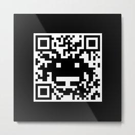 QR Invader Metal Print