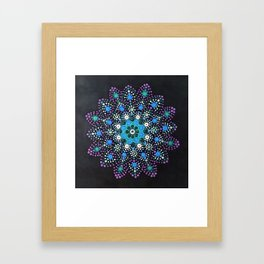 Icy Dot Mandala Snowflake Painting In Lilac Teal and Blue Framed Art Print
