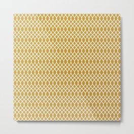 Gold white minimal elegant pattern geometric Metal Print