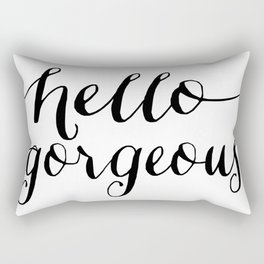Hello Gorgeous - Black and White Type Rectangular Pillow