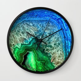 Turquoise Green Agate Mineral Gemstone Wall Clock
