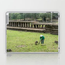 Trimming Grass With a Machete, Angkor Thom, Siem Reap, Cambodia Laptop & iPad Skin