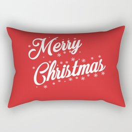 Merry Christmas with Snow Flakes on Red Background Rectangular Pillow