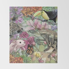 Flora and Fauna of Mexico Throw Blanket