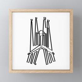 Sagrada Familia in one draw Framed Mini Art Print