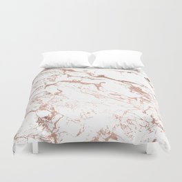 Modern chic faux rose gold white marble pattern Duvet Cover