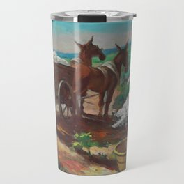Classical Masterpiece 'Cotton Picking and Loading' by Thomas Hart Benton Travel Mug