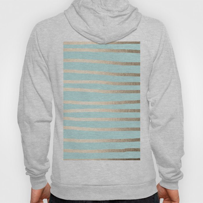Simply Drawn Stripes White Gold Sands on Succulent Blue Hoody