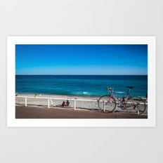 Beach and the bike - Nice, France summer Art Print