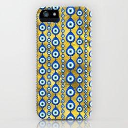 Evil Eye pattern on golden texture iPhone Case