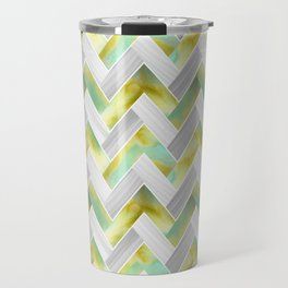 Parquetry in Watercolour - Acid Green Travel Mug