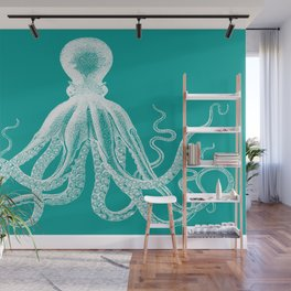 Octopus | Teal and White Wall Mural