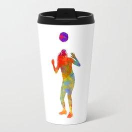 Woman soccer player 13 in watercolor Travel Mug