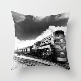CN Trains pulling Royal Tour cars -Trains du CN tirant les voitures de la tournée royale  Throw Pillow