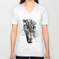 snow leopard V-neck T-shirts featuring Snow Leopard by pbnevins