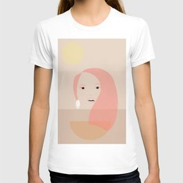 Minimal girl within three colours T-shirt