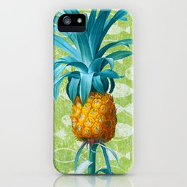 Pineapple, Bromella ananas, Green Texture with Primitive Fish Pattern Background, by Pierre Joseph Redoute, Plate 465 iPhone Case