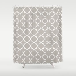Classic Quatrefoil pattern, warm grey Shower Curtain