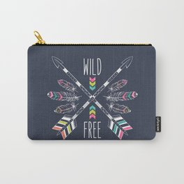 "Ethnic frame made of feathers, threads and beads with text ""Wild and Free"". Freedom concept. Carry-All Pouch"