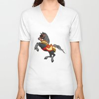 pony V-neck T-shirts featuring Grey Pony by Moonlake Designs