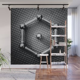 Benzene Molecule Chemical Formula From Metal Wall Mural