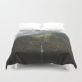 Autumn Waterfall at the Mountain Lake - Landscape Photography Duvet Cover