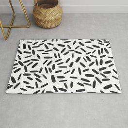 Black Line Pattern Rug