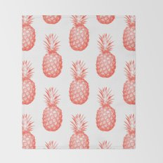 Coral Pineapple Throw Blanket