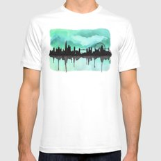 Mint Green London Skyline 2 MEDIUM Mens Fitted Tee White