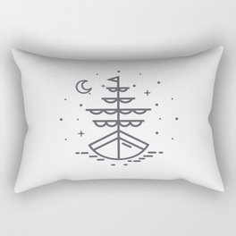 Boat illuminated by the moon and stars Rectangular Pillow