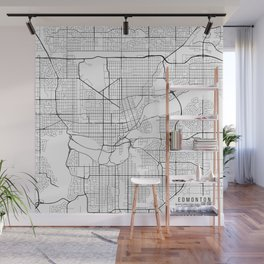 Edmonton Map, Canada - Black and White Wall Mural