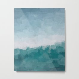 Aqua Teal Turquoise Denim Blue Waves Surfer Abstract Nature Ocean Painting Art Print Wall Decor  Metal Print