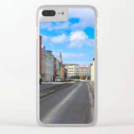 reykjavik street view Clear iPhone Case