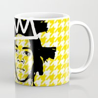 basquiat Mugs featuring BASQUIAT YELLOW by SebinLondon