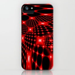 Red glowing net fractal iPhone Case