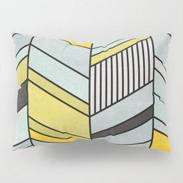 Colorful Concrete Chevron Pattern - Yellow, Blue, Grey Pillow Sham