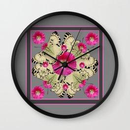 CHARCOAL GREY PINK FLOWERS YELLOW BUTTERFLIES Wall Clock