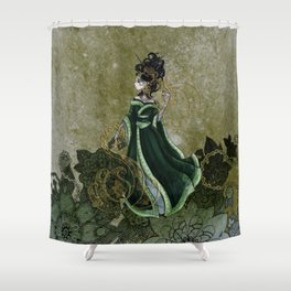 Gold Gilded Leda: A Bollywood Geisha Shower Curtain