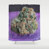 medical Shower Curtains featuring Jenny's Kush Medical Marijuana by BudProducts.us