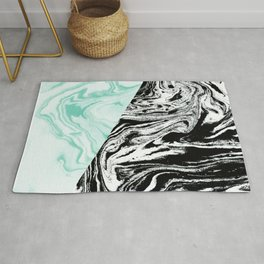 Spilled ink marble black and white mint trendy suminagashi japanese paper marbling Rug