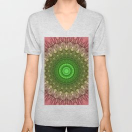 Mandala in vibrant green and pastel red tones Unisex V-Neck