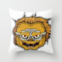 foo fighters Throw Pillows featuring Foo Manchew by Laz Llanes