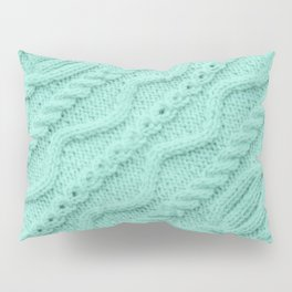 Seafoam Mint Cableknit Pillow Sham
